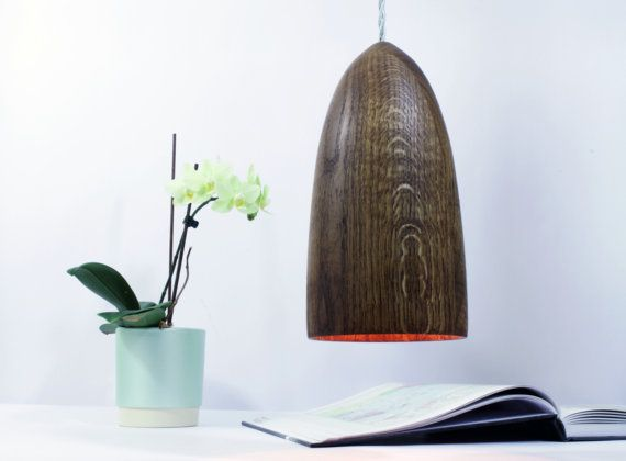 Oak pendant lamp with braided silver cable. Solid oak lamp ...