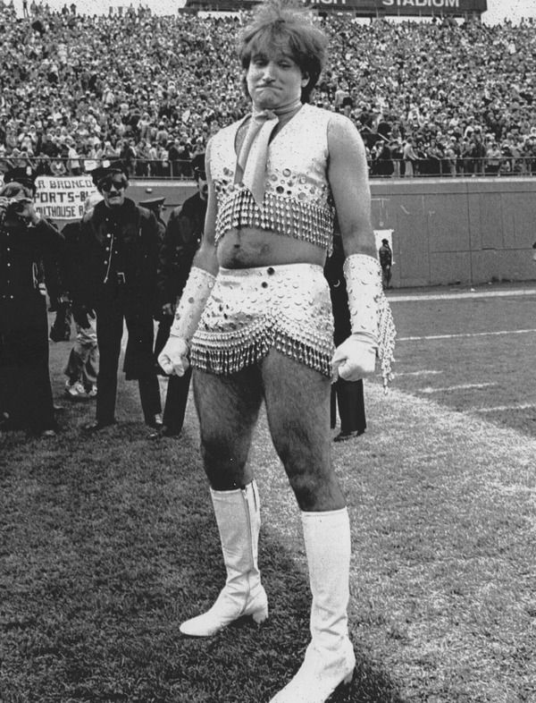 "Robin Williams as ""Mork"" was Denver Broncos' first male cheerleader 1979"