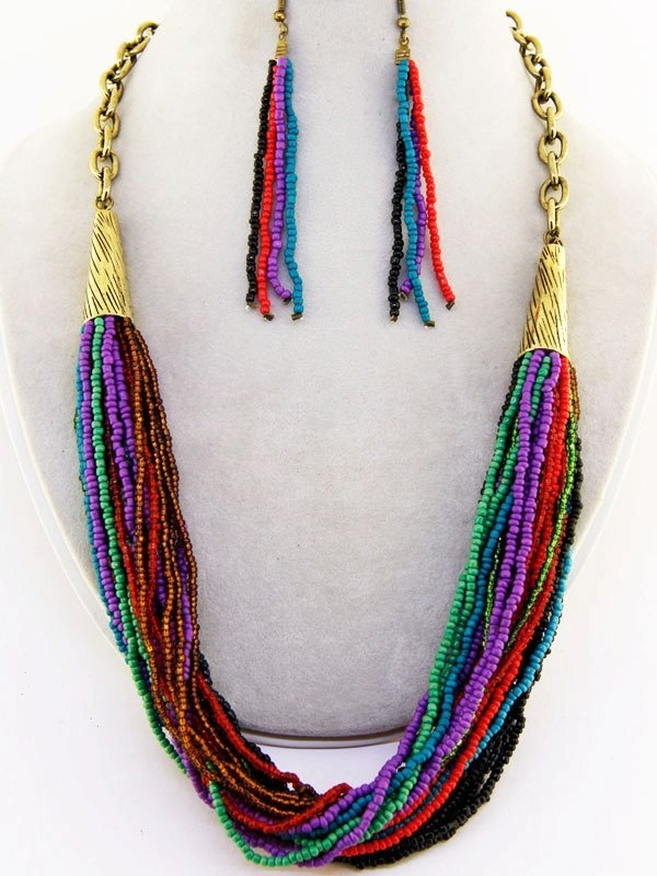 Image of MULTI BEAD CHAIN NECKLACE SET