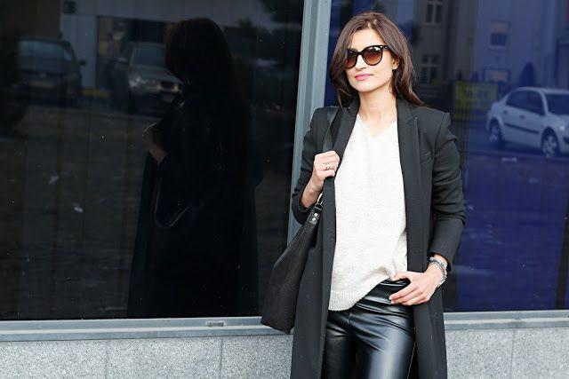 skórzane spodnie, mięta, conversy, jak nosić conversy, jak nosić, wiosenny look, porady stylisty, jesienny płaszcz, must have, novamoda style, Novamoda streetstyle, czarny płaszcz, modne trendy, jak nosić swetry, swetry, kobiety, styl po 40ce, styl życia, blog modowy, jak nosić skórzane spodnie, moda, inspirujący styl, cat eye, okulary kocie oczy