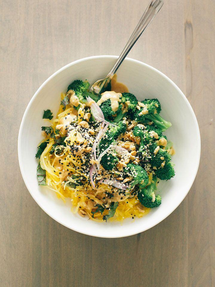 Spaghetti Squash Noodle Bowl with Lime Peanut Sauce | Recipe