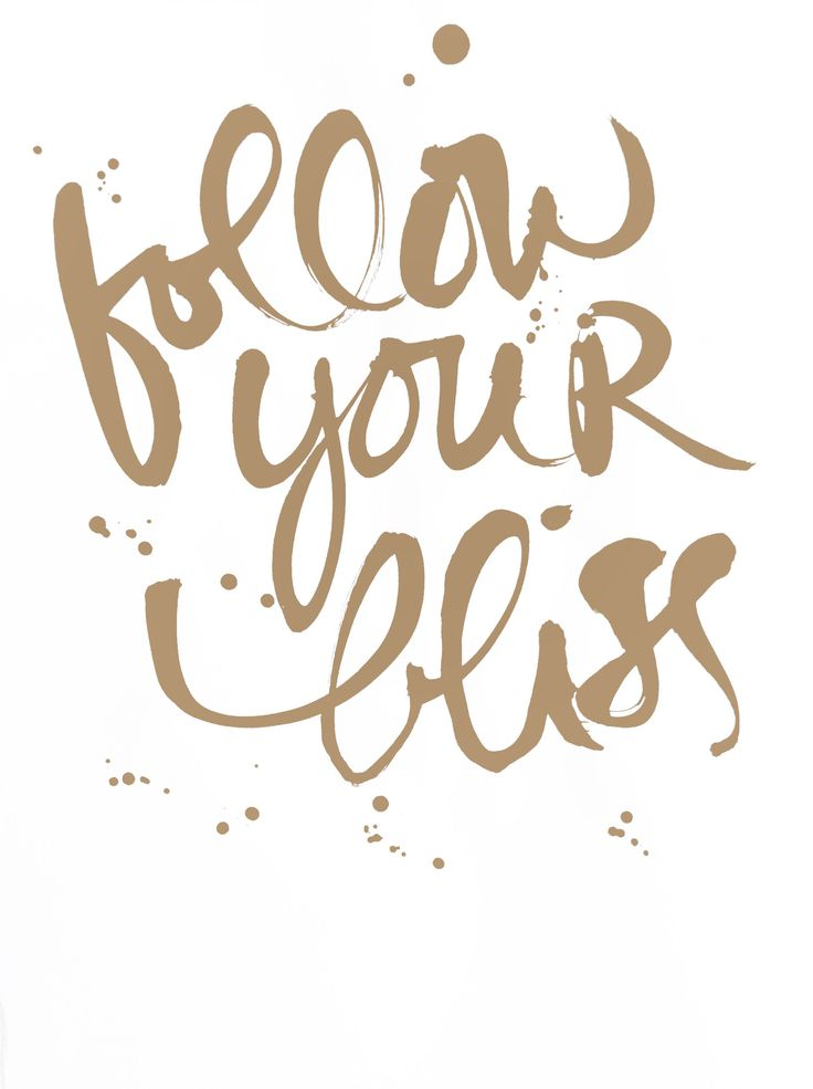follow your bliss love this brush calligraphy, brush lettered look.