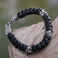 Men's leather braided bracelet, 'Eagle Warrior' - Men's Braided Leather Bracelet
