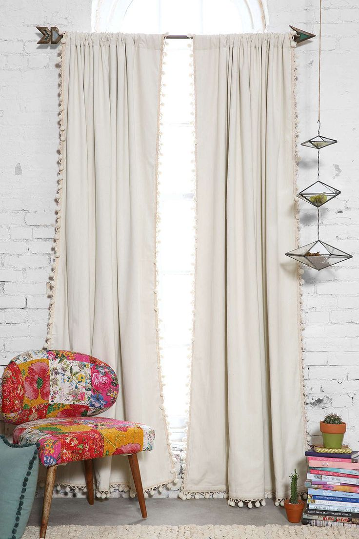 Blackout curtains for bedroom - Blackout Pompom Curtain