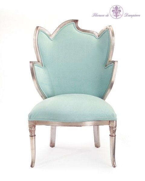 Luxury French Designer Aqua Silver Leaf Chair, So Elegant, Inspire Your  Friendsu2026