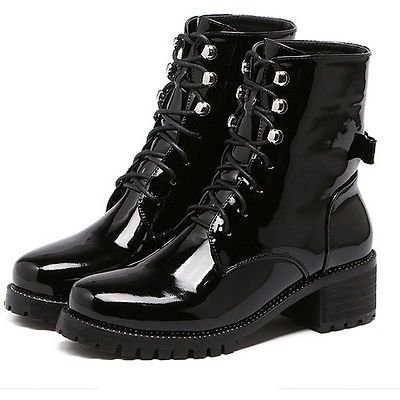 Women Military Boots Lace Up Round Toe Shoes Patent Leather Footwear Gallant