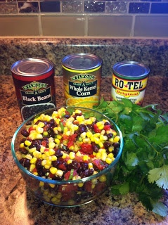 Fresh Corn Bean Salsa  1 can black beans, 1 can corn, 1 can rotel, fresh cilantro