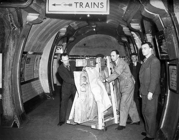 1945:  Operation Elgin is carried out - 100 tons of priceless Elgin marbles are moved from their wartime hideout in Aldwych Tube, back to the British Museum