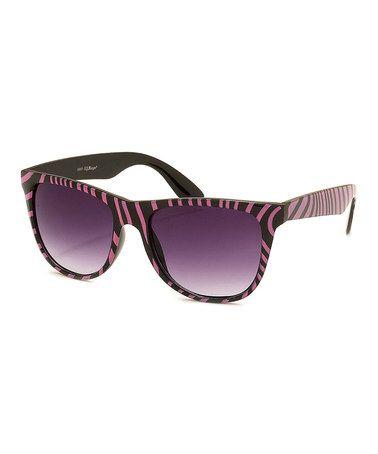 Love this Black & Pink Zebra Safari Sunglasses on #zulily! #zulilyfinds