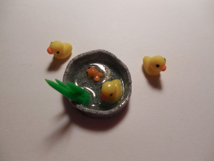 Polymer Clay Duck Pond Handmade Miniature by SpecialKCharms, $7.00