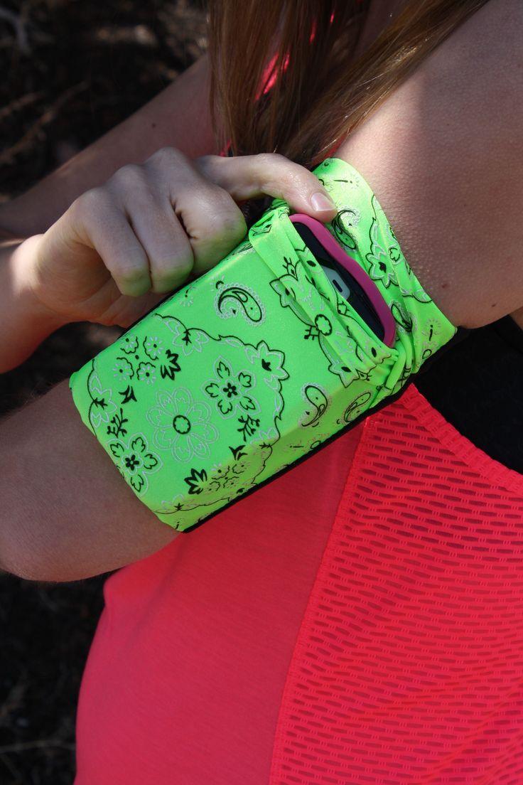 Green Bandana armband for cellphone, etc