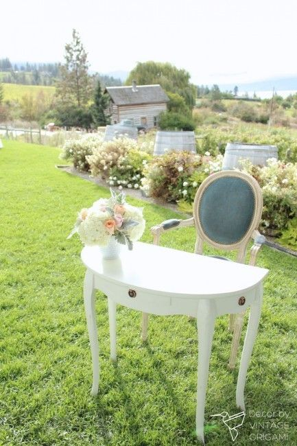 Half moon white license signing table and blue parlour chair for ceremony signing