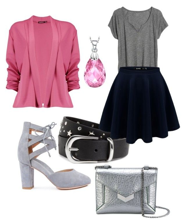 """pink grey love"" by brittanynorma on Polyvore featuring Madewell, Boohoo, Jimmy Choo and Collette Z"