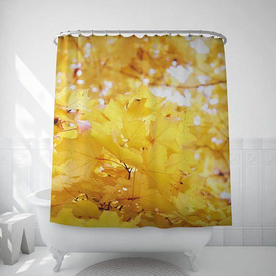 Autumn Leaves Shower Curtain Yellow Bath Curtain Yellow Bath