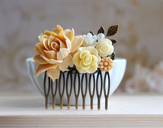Wedding Bridal Hair Comb. Light Latte Rose Ivory от LeChaim