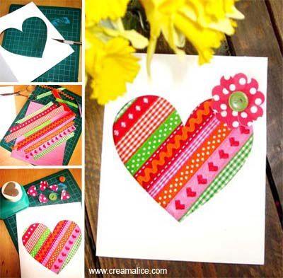 DIY Carte cœur réalisée avec des rubans ou du masking tape