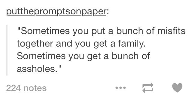 """""""We may be a bunch of misfits, but at least we are family."""" """"Or we're just assholes."""" <~~ Previous pinner"""