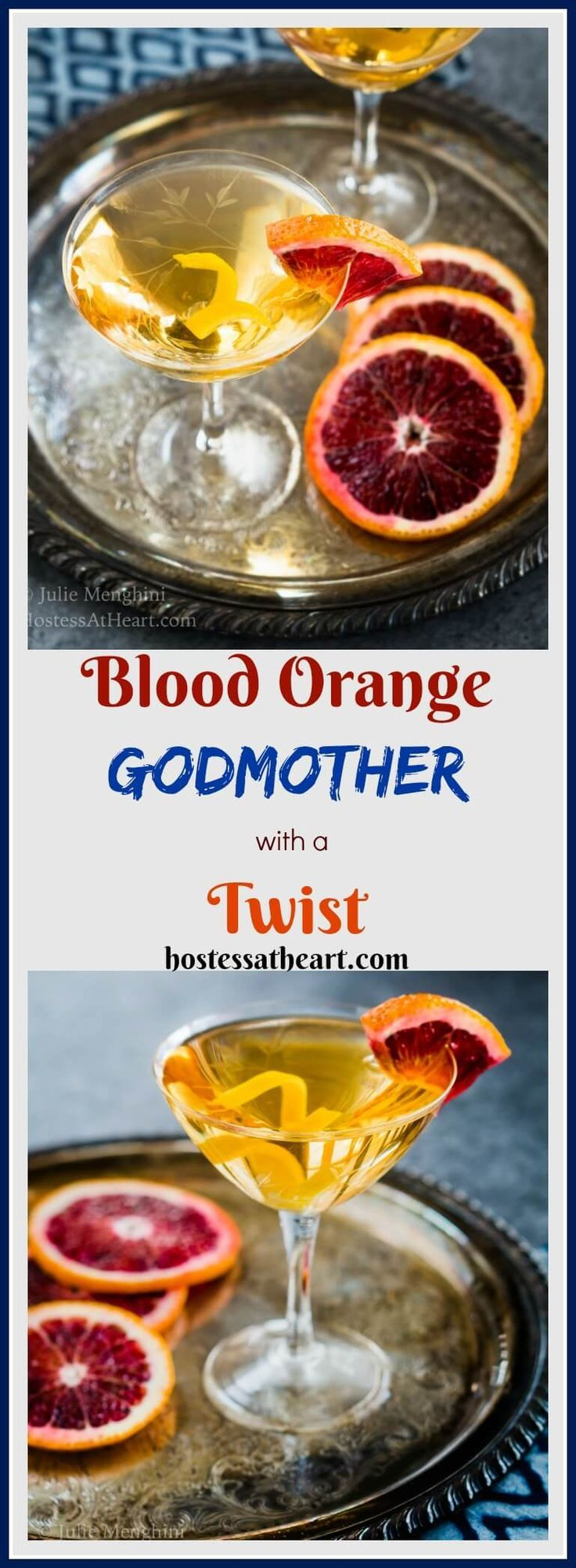 This Blood Orange Godmother cocktail adds a whole new twist to a traditional Godmother.This lady is a modern gal and is all dressed up and ready to please. #MixedDrinks #Cocktails #Vodka #drinks | Cocktails with Vodka | Vodka Mixed Drinks | Cocktail Recipes via @HostessAtHeart