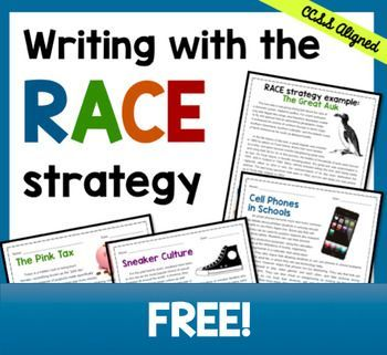 Help students learn how to answer text-based short response questions using the RACE strategy--awesome for test-prep!