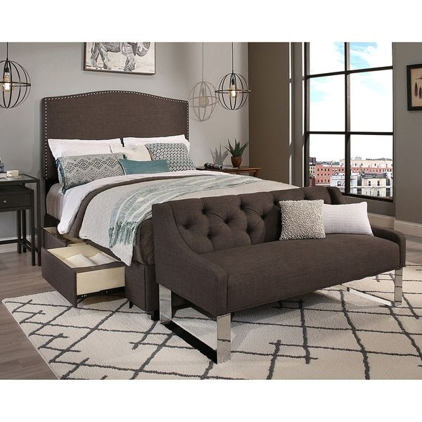 Republic Design House King/Cal King Size Newport Grey Headboard, Storage Bed and Tufted Sofa Bench Collection