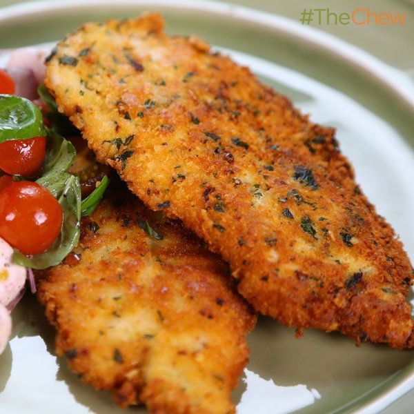 "Michael Symon's Chicken Scallopini with Tomato Mozzarella Salad #TheChew. Use GF crackers to make the ""Panko""."