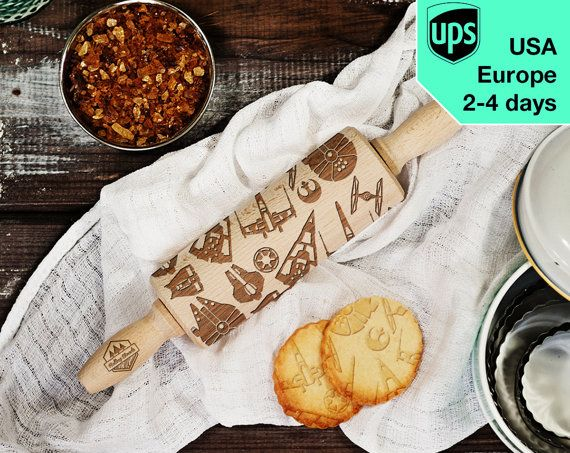 Starships  MINI laser engraved rolling pin by RollingWoods on Etsy