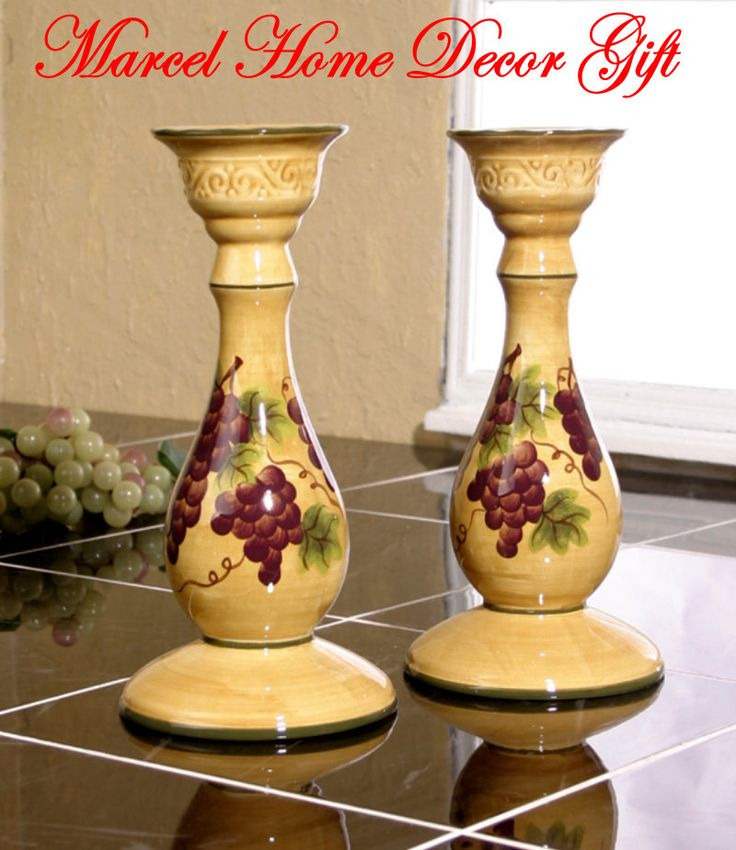 Candle Holder Set Grape Tuscany Wine Kitchen Decor