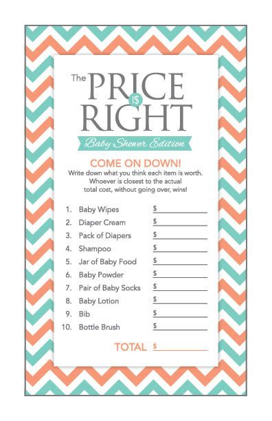 Instant Download Teal Chevron Baby Shower Games by Studio20Designs