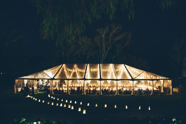 tented reception + leading lights