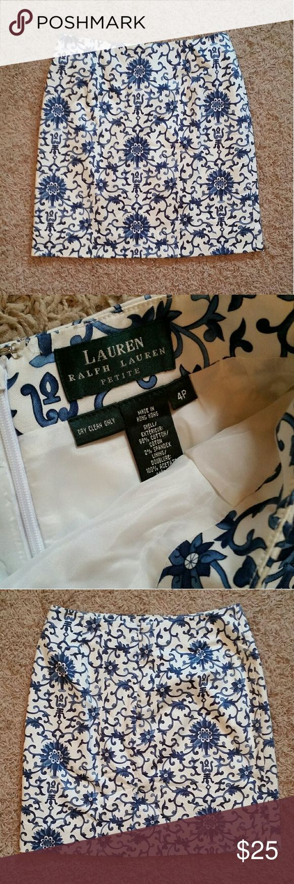 Ralph Lauren Skirt Very nice blue and white skirt by Ralph Lauren. Size 4P.   📦Bundle 3+ items to save 30% Ralph Lauren Skirts