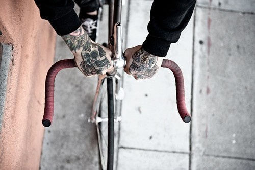Fixed gear bike #tattoos #hands #bicycle chimera