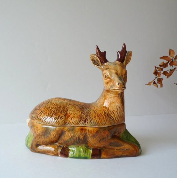 French Vintage Brown Deer Tureen - French Ceramic