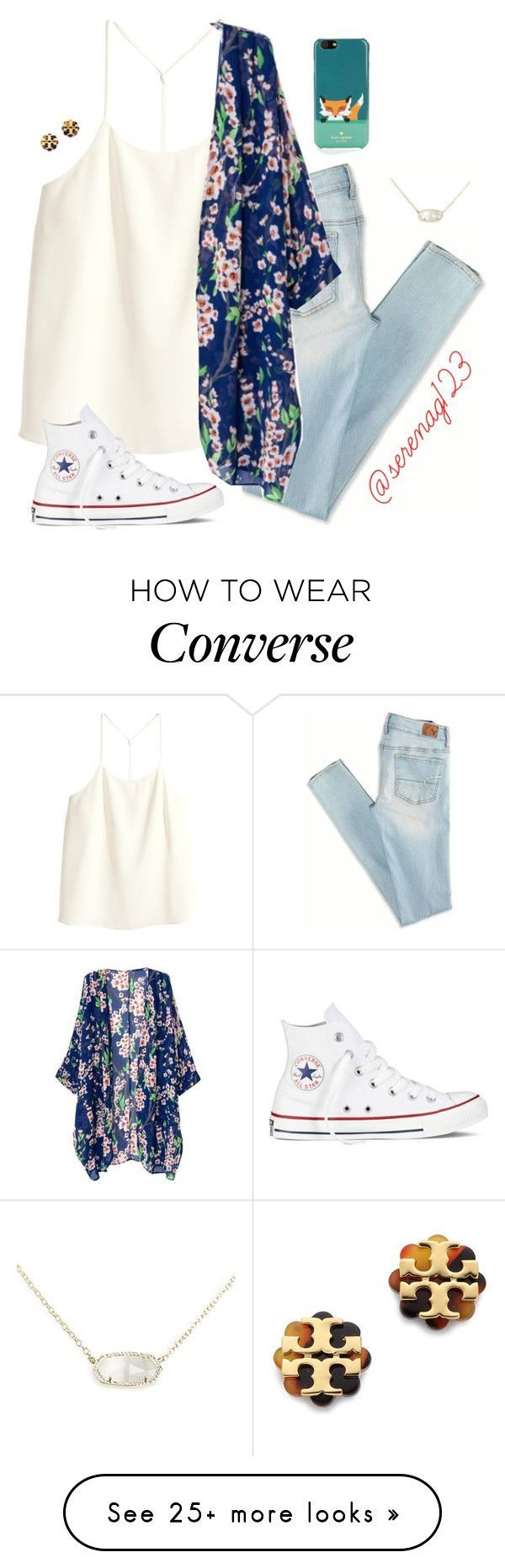 """""""just got this necklace omg i luv it so much"""" by serenag123 on Polyvore featuring American Eagle Outfitters, H&M, Converse, Tory Burch, Kendra Scott and Kate Spade"""