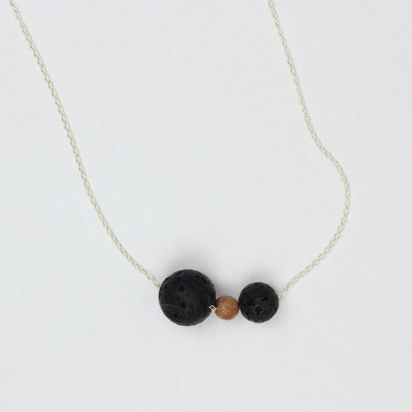 The Power of Three Necklace | Super classy aromatherapy necklace made with lava beads for diffusing essential oils and rosewood.