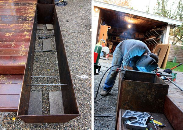 The great thing about these DIY planter boxes is that the welds are on the inside and since they'll be covered with dirt, they don't have to be pretty.