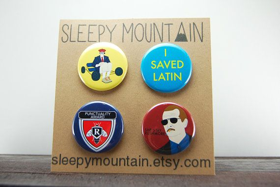 Rushmore Badges  Wes Anderson Rushmore Film by SleepyMountain
