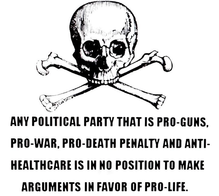 And that's the short list. One could add: doesn't want to fund education, or eradicate lead paint in low income communities, or support police reform and accountability practices, or hold corporations accountable for poisoning our environment and bodies. The party is not pro life, they are pro money, by any means necessary.