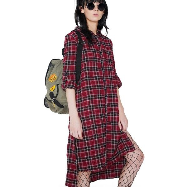 Red Plaid Flannel Shirt Dress ($26) ❤ liked on Polyvore featuring dresses, pink, red flannel dress, shirt dress, flannel dresses, long plaid shirt dress and red shirt dress