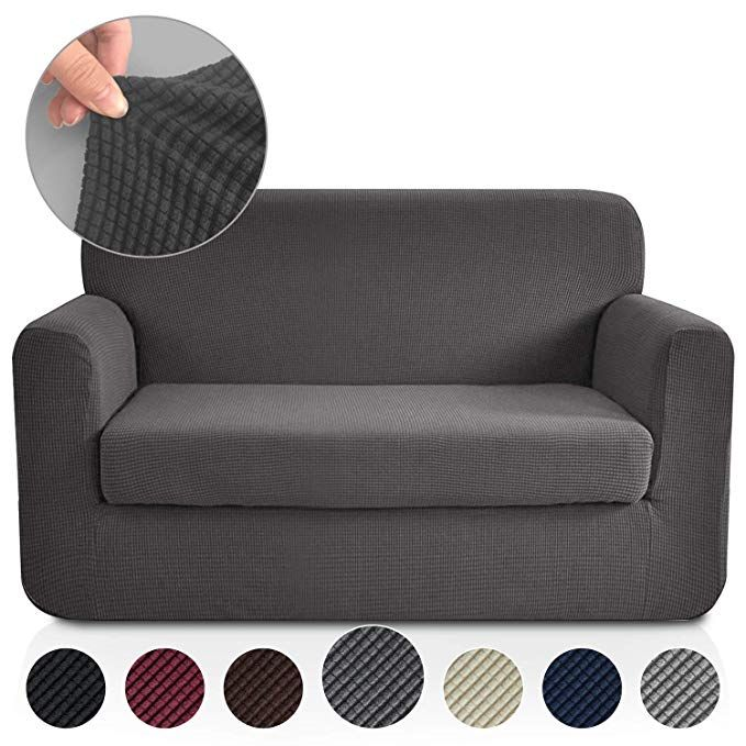 Rhf 2 Separate Pieces Loveseat Cover Slipcovers For Couches And Loveseats With Separate Cushion Cover Jacquard H Grey Couch Covers Love Seat Slip Covers Couch
