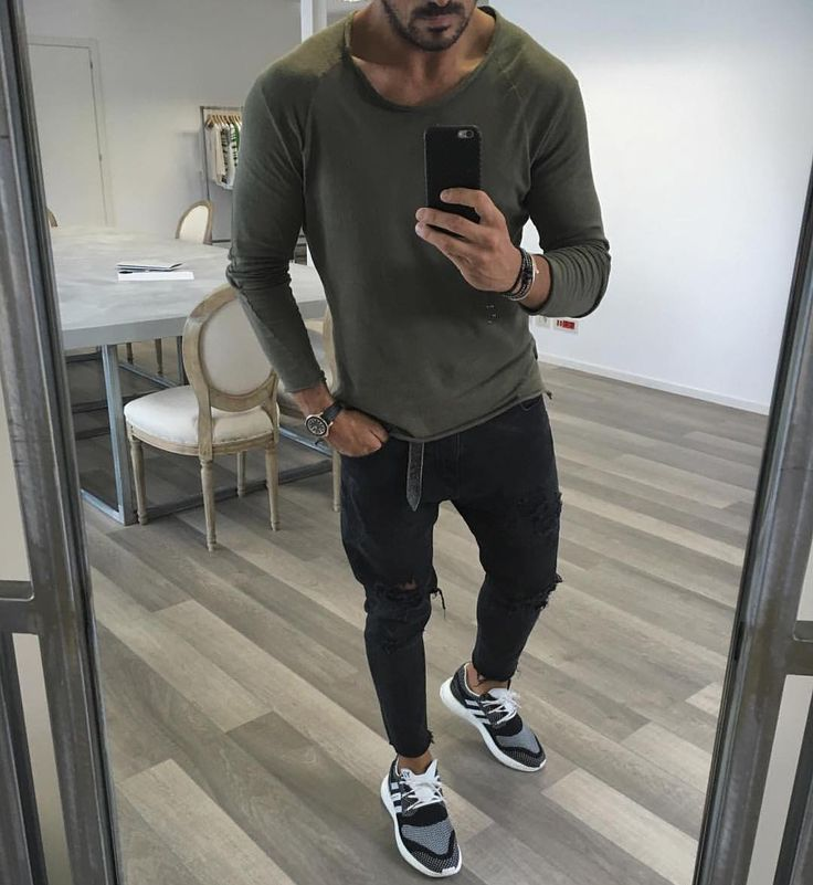 Green long sleeve distressed jeans and sneakers by @vincenzoragnacci  [ http://ift.tt/1f8LY65 ]