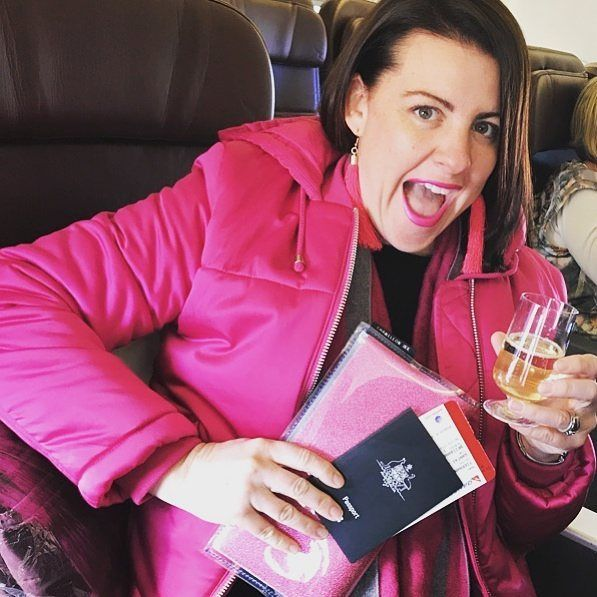 Sister loves pink ( and Chameleon Ink 😁) and is strapped in with her Oversize Wallet keeping the official stuff safe while she indulges in a lil inflight 'entertainment'. Enjoy Rach 😗 @rachael_tiernan  •  •  •   #travelwallet #travel #onebagalwayschanging #chameleonise #chameleonink #pink #colourpop #chameleoninkbags