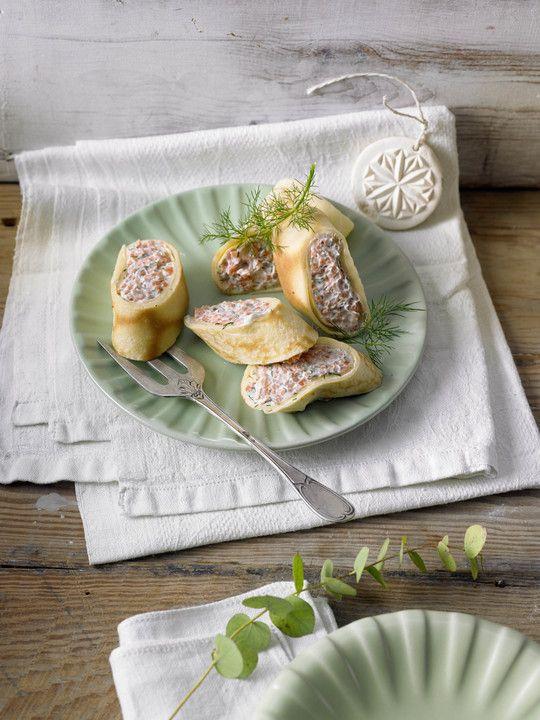 Lachs - Crépe - Pralinenröllchen