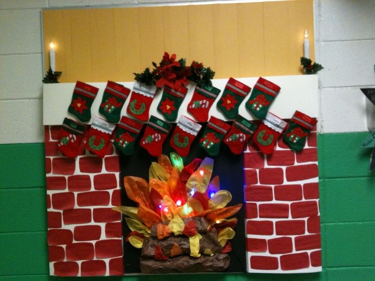 Fireplace Bulletin Board Christmas Pinterest Tissue
