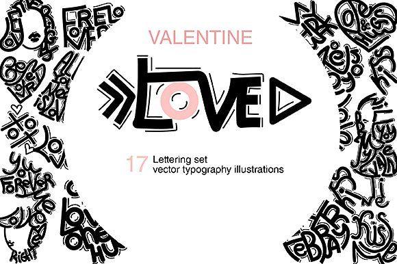 Valentines day lettering set by TSAPLYA on @creativemarket #lettering #creativemarket #valentines #day #holiday #illustration #love #typo #typography #set