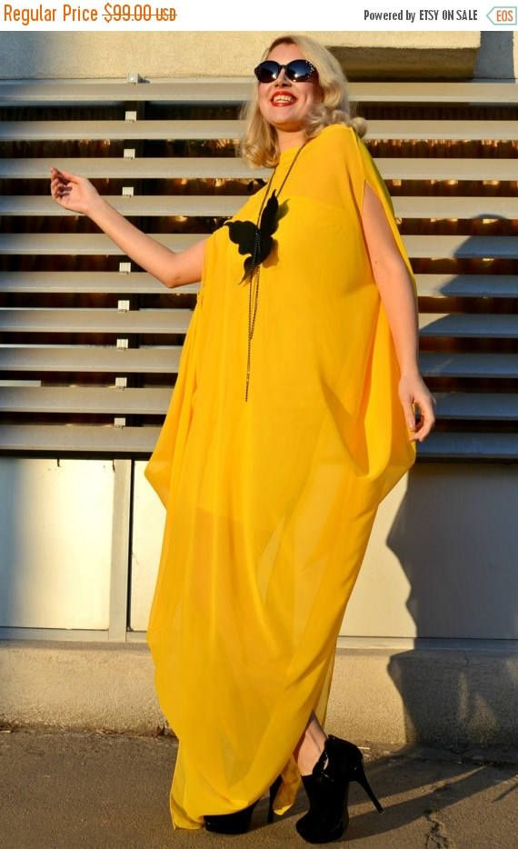 Extravagant yellow kaftan made of the finest chiffon. Very comfortable, soft and playful maxi dress, suitable for parties and special occasions. Fabulous design that will put you in the spotlights! The kaftan comes with an underneath viscose dress. Two pieces for this item! Material: underneath dress - 99% viscose, 5% elastane Kaftan - 100% chiffon Care instructions: Wash at 30 degrees. The model in the picture is size S.  Can be made in ALL SIZES.  If you have any other specific…