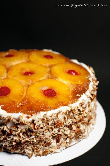 Pineapple Upside Down Cake (double layer with pineapple buttercream frosting)(made this, it was super, w/o the nuts,P.D.)