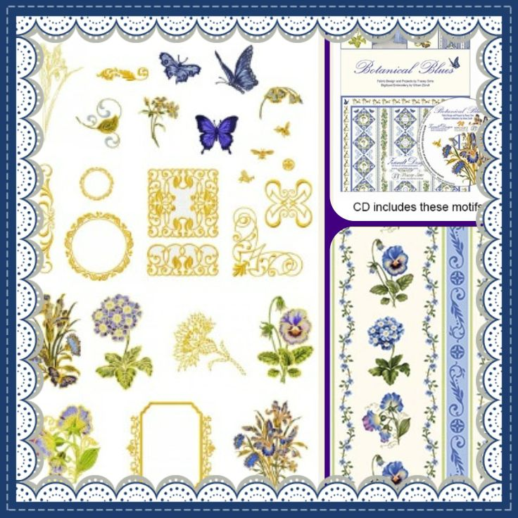 Botanical Blues - Zundt Designs and Tracey Sims Book and CD. Available from Bayside StitchCraft