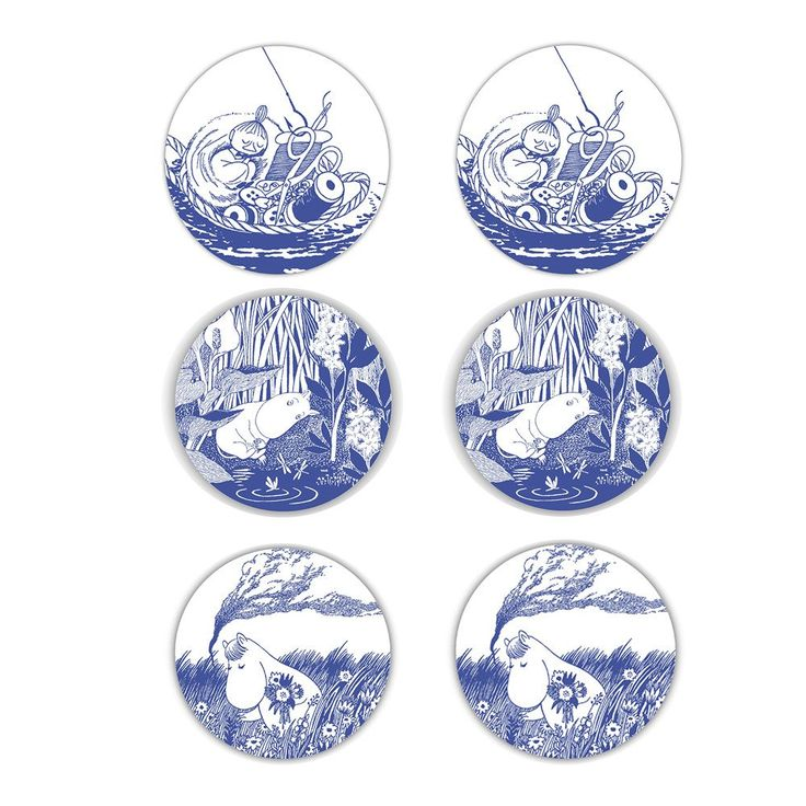 Tove Nordic Glass coaster 6-pack by Opto Design - The Official Moomin Shop  - 2