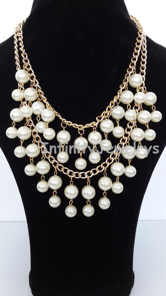 Pearl NecklaceStatement necklaceBead Necklace by InfinityJewelrys, $10.99