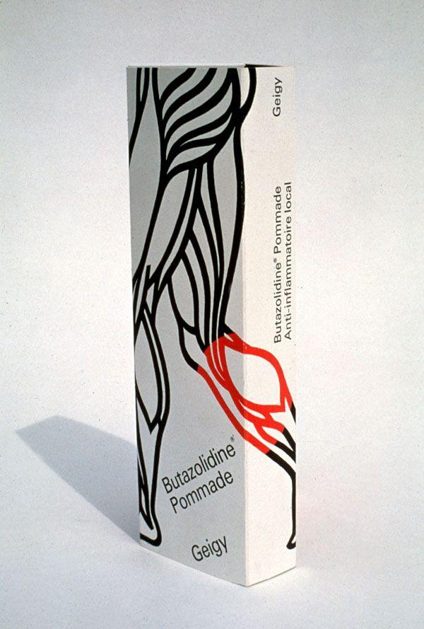Butazolidine Pommade Package, Design Stefan Geissbühler, 1964-67 #packaging